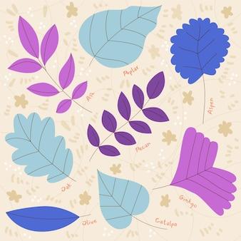 Conjunto de folhas coloridas de design plano