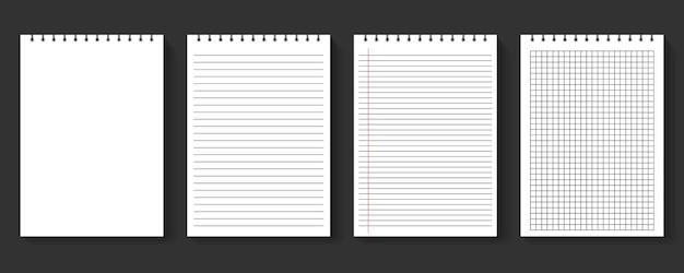 Conjunto de folhas de caderno em branco