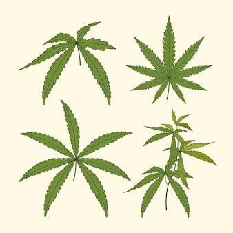 Conjunto de folhas de cannabis em aquarela