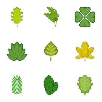 Conjunto de folhas de floresta, estilo cartoon