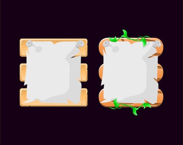 Conjunto de folhas de madeira, jogo de papel, placa de interface do usuário modelo pop-up para elementos de ativos de interface