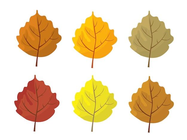 Conjunto de folhas de outono coloridos. desenhos animados e folhas de estilo simples.
