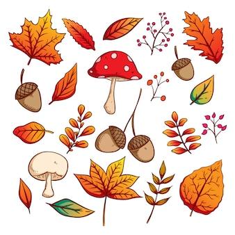 Conjunto de folhas de outono com estilo colorido mão desenhada