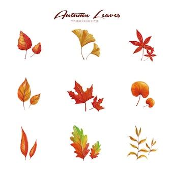 Conjunto de folhas de outono em aquarela