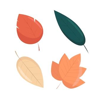 Conjunto de folhas de outono em estilo simples, ilustração vetorial de folhas de outono brilhantes, isoladas.