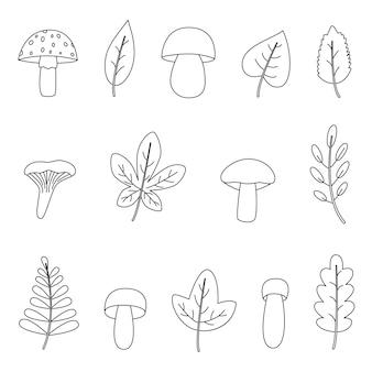 Conjunto de folhas de outono em preto e branco. página para colorir para crianças.
