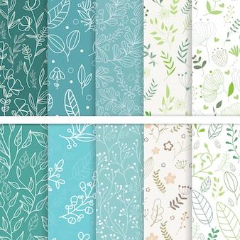 Conjunto de folhas de padrões sem emenda.