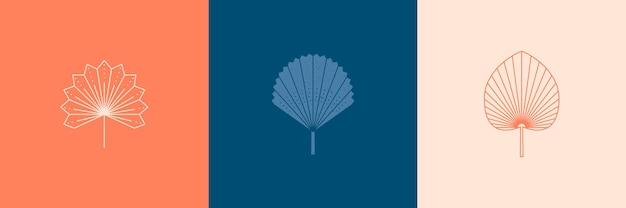 Conjunto de folhas de palmeira abstratas em um estilo linear mínimo moderno. emblema de boho de folha tropical de vetor. ilustração floral para criar logotipo, estampa, estampas de camisetas, tatuagem, postagem em mídia social e histórias