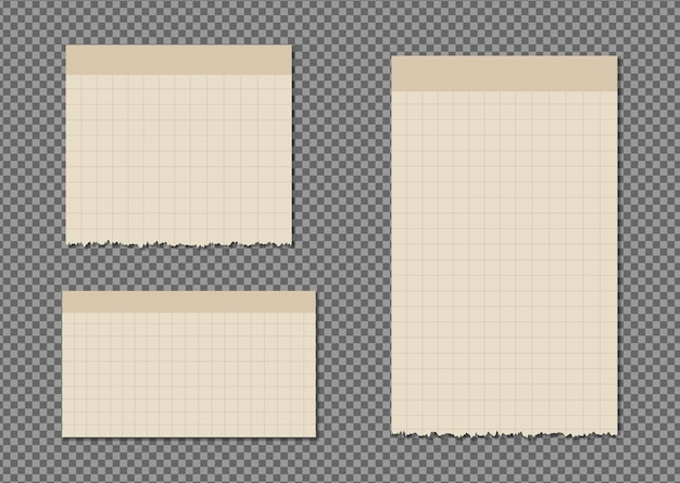 Conjunto de folhas de papel a4, a5 com sombras, simulação de página de papel realista.