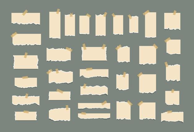 Conjunto de folhas de papel brancas rasgadas folha de memorando ou bloco de notas rasgado notas adesivas