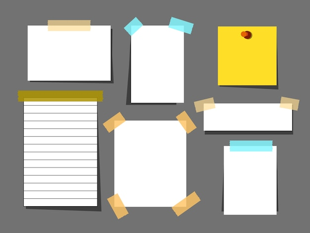 Conjunto de folhas de papel branco com fita adesiva