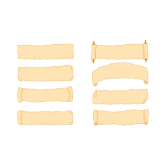 Conjunto de folhas de papel de pergaminho de várias formas ilustração isolado no fundo branco. Vetor Premium