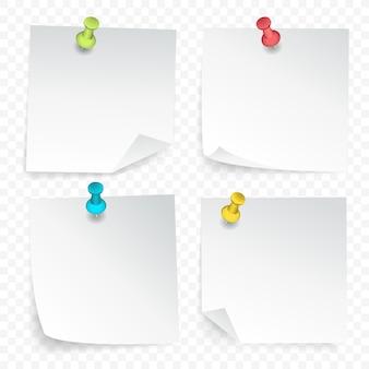 Conjunto de folhas de papel fixadas