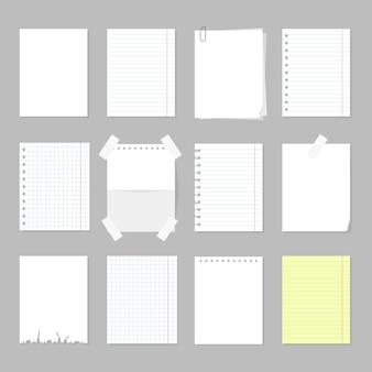 Conjunto de folhas de papel. página de papel em branco, quadro vazio para mensagem