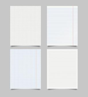 Conjunto de folhas de papel quadriculado e alinhado em branco realista. folha de papel realista de páginas de linhas e quadrados, bloco de notas em fundo cinza. ilustração