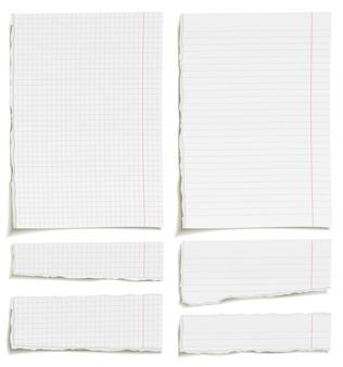 Conjunto de folhas de papel quadriculado e forrado em branco ou páginas do bloco de notas