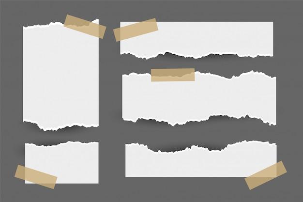 Conjunto de folhas de papel rasgado com adesivo