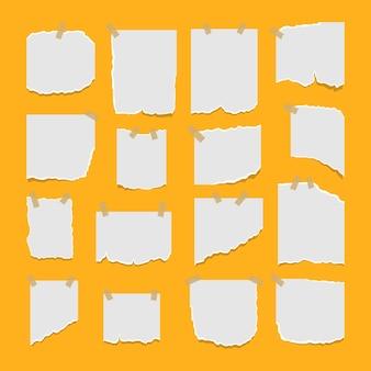Conjunto de folhas de papel rasgado e rasgado com adesivo