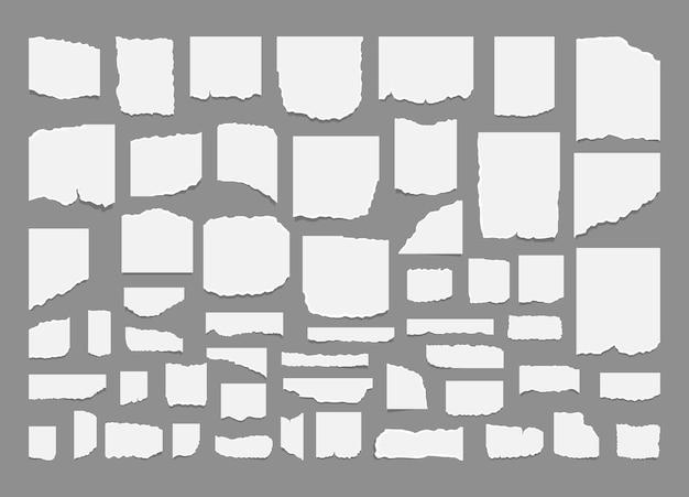 Conjunto de folhas de papel rasgado e rasgado com adesivo.