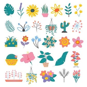 Conjunto de folhas e flores coloridas simples estilo cartoon