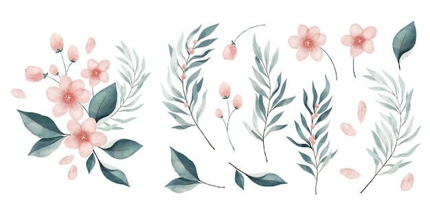 Conjunto de folhas e flores em aquarela