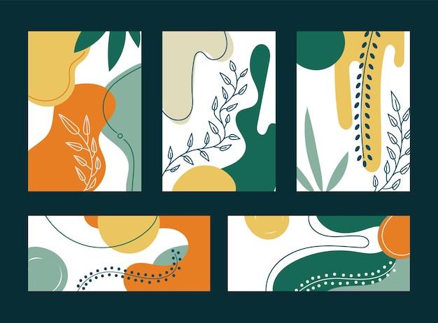 Conjunto de folhas e formas orgânicas desenhadas à mão