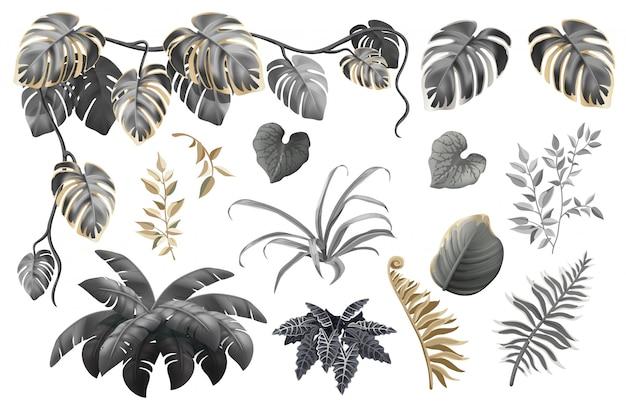 Conjunto de folhas e plantas escuras, ouro e prata.