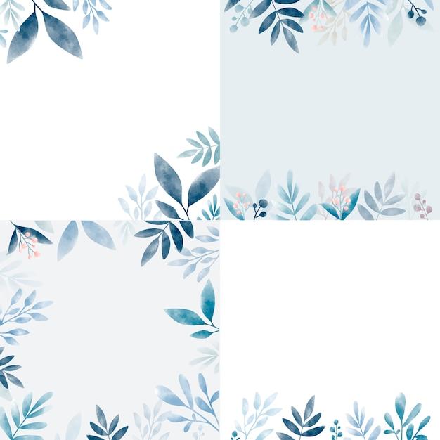Conjunto de folhas em aquarela com espaço de cópia