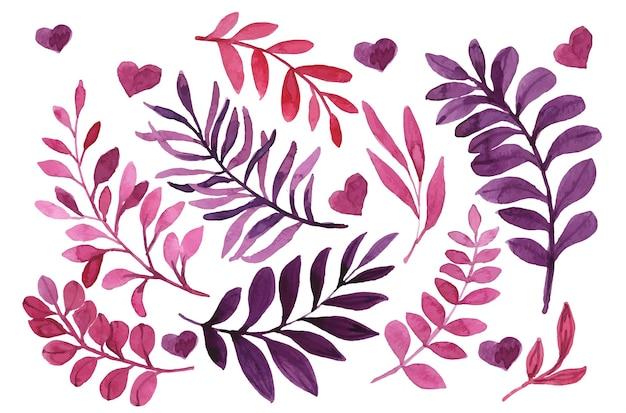 Conjunto de folhas em aquarela de cor lilás