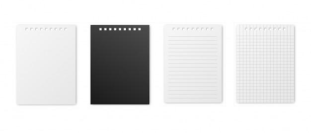 Conjunto de folhas em branco de papel quadrado, forrado e preto realista