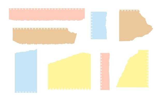 Conjunto de folhas rasgadas de papel colorido e artesanal de diferentes formas modelos vazios com borda desfiada a.