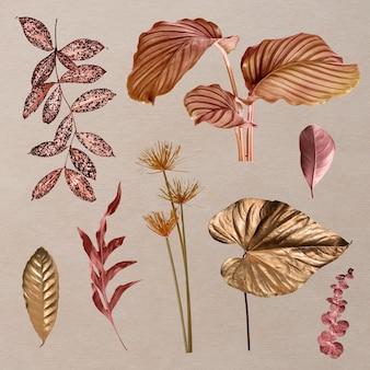 Conjunto de folhas tropicais metálicas