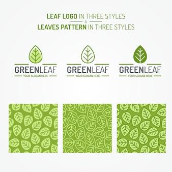 Conjunto de folhas verdes composto por logotipo e padrão de folhas