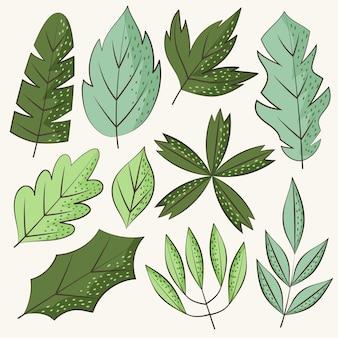 Conjunto de folhas verdes desenhadas à mão