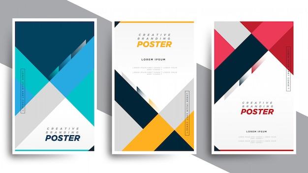 Conjunto de folheto de capa de livro geométrico