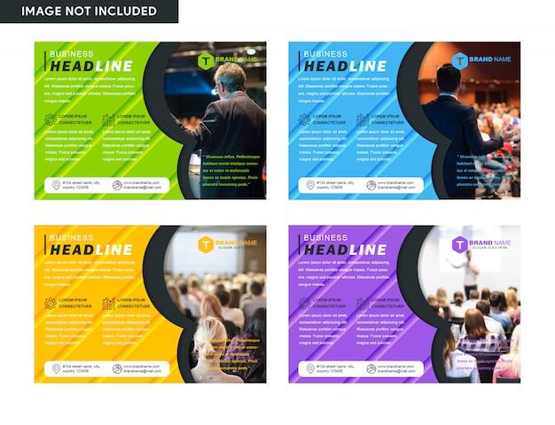 Conjunto de folheto de negócios de capa horizontal flyer