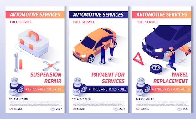 Conjunto de folheto de publicidade para o serviço de automóvel
