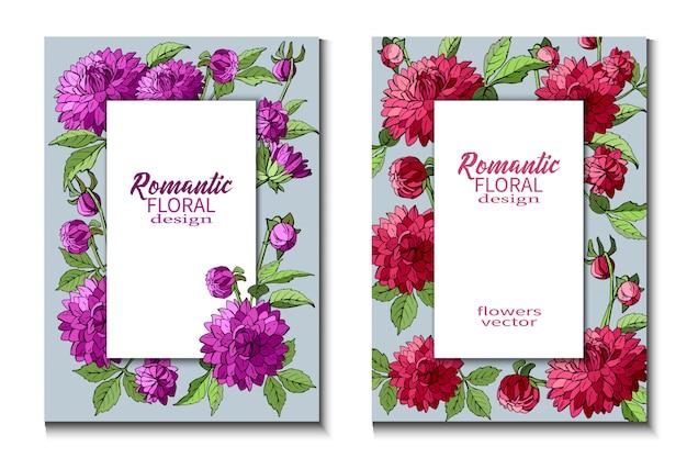Conjunto de folhetos com flores dálias roxas e vermelhas