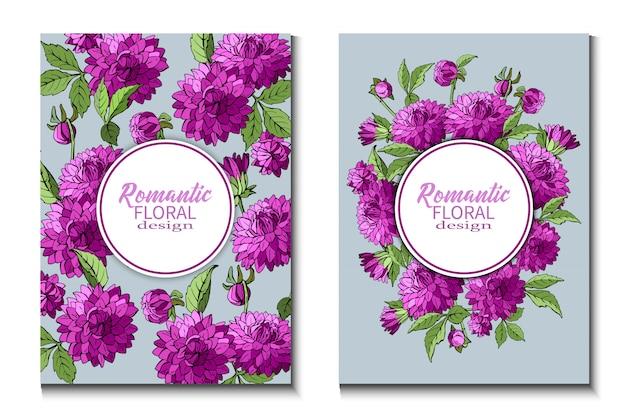 Conjunto de folhetos com flores de dálias roxas