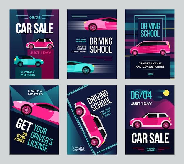 Conjunto de folhetos de convite de escola de condução.