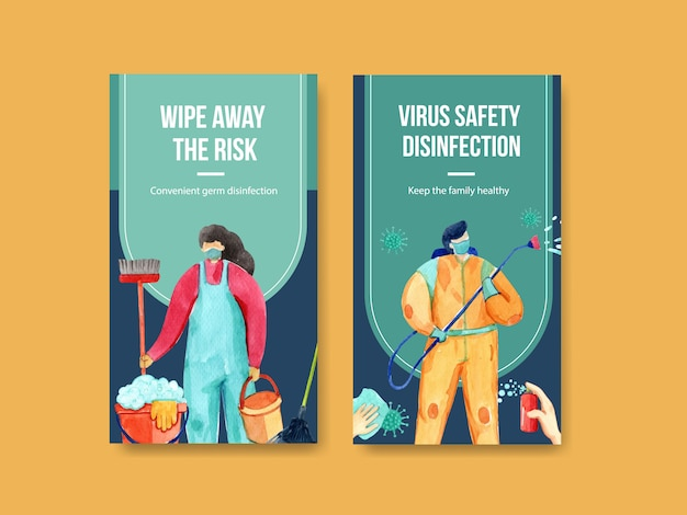 Conjunto de folhetos de coronavírus