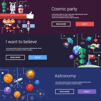 Conjunto de folhetos de design plano e cabeçalhos de ícones do espaço e elementos de infográficos