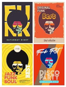 Conjunto de folhetos de evento de festa discoteca