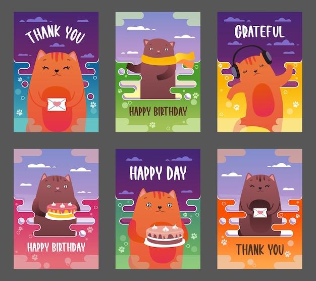 Conjunto de folhetos de férias com ilustração vetorial de gatos engraçados