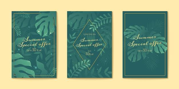 Conjunto de folhetos de folhas tropicais