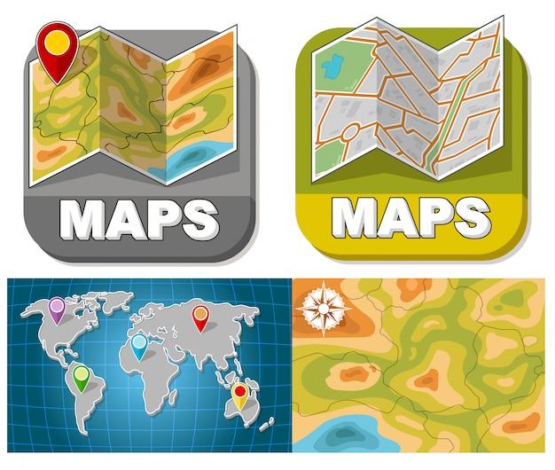 Conjunto de folhetos de mapa dos desenhos animados com pontos de passagem