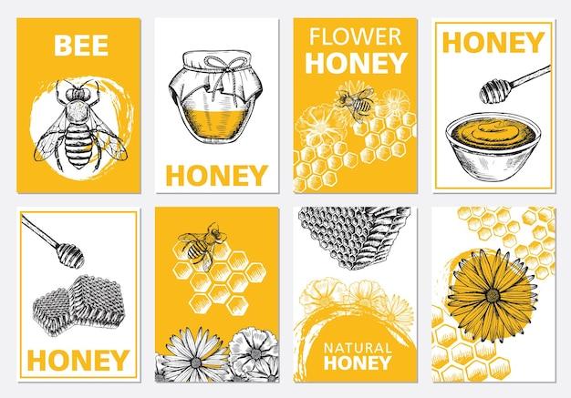 Conjunto de folhetos de mel e abelhas ilustrações desenhadas à mão