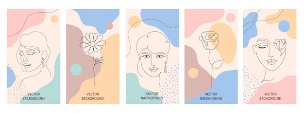 Conjunto de folhetos de mulher