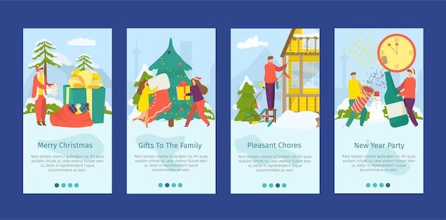 Conjunto de folhetos de natal e ano novo