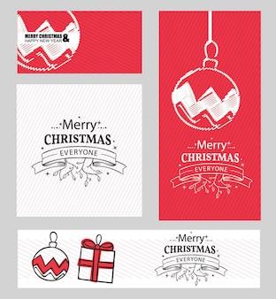Conjunto de folhetos de natal e feliz ano novo em vetor de estilo vintage